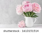 Pink Peony Flowers Bouquet On...