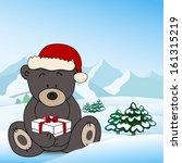 bear in santa claus holding a... | Shutterstock .eps vector #161315219