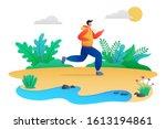 outdoor running activity scene. ... | Shutterstock .eps vector #1613194861