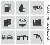 vector black gas station icons... | Shutterstock .eps vector #161319497