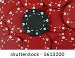 single black poker chip amid... | Shutterstock . vector #1613200