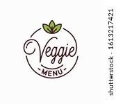 veggie menu logo. round linear... | Shutterstock .eps vector #1613217421