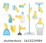 cleanning tools with hands.... | Shutterstock .eps vector #1613224984