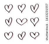 heart hand drawn icons set... | Shutterstock .eps vector #1613231557