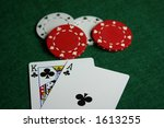 king and ace with poker chips. | Shutterstock . vector #1613255