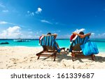 couple on a tropical beach at... | Shutterstock . vector #161339687