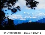 Small photo of Beautiful view on Trisul peak of Himalaya from small Gwaldam town, Uttarakhand, India