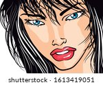 woman face with black hair and... | Shutterstock .eps vector #1613419051