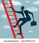 Abstract Businessman climbs up the Corporate Ladder. Vector illustration of Retro styled Businessman climbing to the top of the corporate ladder of success. - stock vector