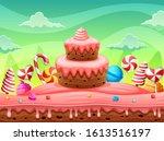 fantasy world sweet land cake... | Shutterstock .eps vector #1613516197