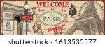 welcome to paris metal sign...   Shutterstock .eps vector #1613535577