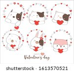 happy valentines day with cute... | Shutterstock .eps vector #1613570521