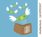 banknotes flying out of a... | Shutterstock .eps vector #1613592247