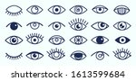 eye icons. outline eyelashes... | Shutterstock .eps vector #1613599684
