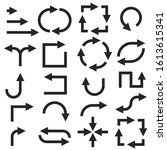 black arrows. set of flat icons.... | Shutterstock . vector #1613615341