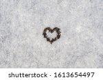 Black Ink Heart In Macro On...
