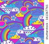 rain and rainbow doodle... | Shutterstock .eps vector #161367761