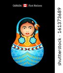 Matryoshkas of the World: Canada first nations girl in regalia - stock vector