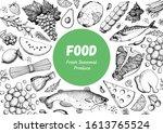 food sketch. vector... | Shutterstock .eps vector #1613765524