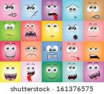 cartoon faces with emotions  | Shutterstock .eps vector #161376575