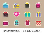 gift box color flat stickers....