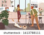 funny couple cleaning house... | Shutterstock .eps vector #1613788111