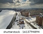 Aerial View Of A Winter City...