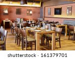 restaurant room with wooden... | Shutterstock . vector #161379701