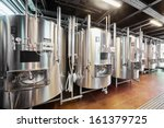 Row Of Tanks In Microbrewery