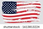 grunge usa flag. vector... | Shutterstock .eps vector #1613813224