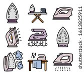 smoothing iron icons set.... | Shutterstock .eps vector #1613825911