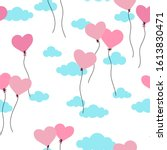 cute hand drawn hearts seamless ... | Shutterstock .eps vector #1613830471