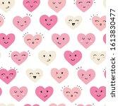 cute hand drawn hearts seamless ... | Shutterstock .eps vector #1613830477