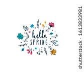 hello spring inspirational card ... | Shutterstock .eps vector #1613833981