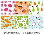 sweet delicious tropical fruits ... | Shutterstock .eps vector #1613844997