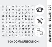 100 communication black icons...