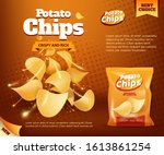 potato chips bag  vector design ... | Shutterstock .eps vector #1613861254