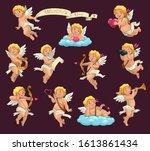 cupid angels cartoon vector...   Shutterstock .eps vector #1613861434