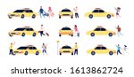 characters and taxi. person car ... | Shutterstock .eps vector #1613862724