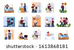 daily routine of a little boy...   Shutterstock .eps vector #1613868181