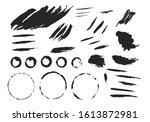 black brush stamps  torn... | Shutterstock .eps vector #1613872981