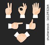 set of hands gestures vector... | Shutterstock .eps vector #161393264