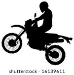 man on jumping dirt bike silhouette stock vector royalty free