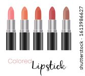 spilled colorful lip gloss with ... | Shutterstock .eps vector #1613986627