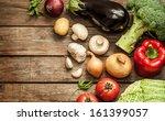 vegetables on vintage wood...