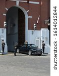 Small photo of MOSCOW, RUSSIA - MAY 7, 2019:Russian defense Minister Sergei Shoigu leaves the gates of the Spasskaya tower during the dress rehearsal of the Victory day parade