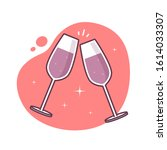 champagne wine glasses cheers... | Shutterstock .eps vector #1614033307