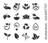 vector leaf and ecology icon set | Shutterstock .eps vector #1614057757