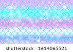 mermaid kawaii pattern. fish...   Shutterstock .eps vector #1614065521