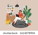cute woman sitting on chair... | Shutterstock .eps vector #1614078904